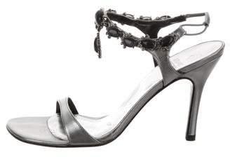 Stuart Weitzman Embellished Ankle Strap Sandal