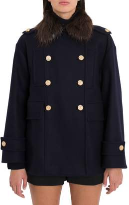 RED Valentino Pea Coat In Naval Wool With Fur Collar