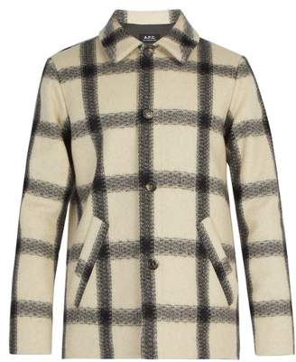 A.P.C. Vancouver Checked Wool Blend Coat - Mens - White Multi