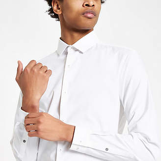 River Island Mens White long sleeve textured button-down shirt