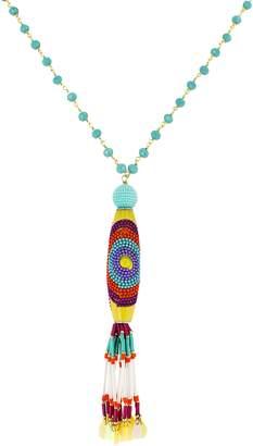 Panacea Crystal Multi Bead Tassel Necklace