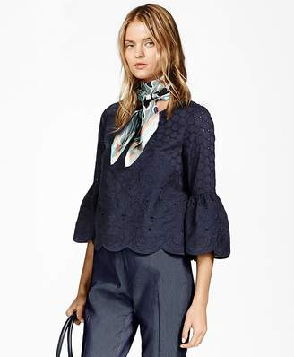 Bell-Sleeve Cotton Eyelet Blouse $168 thestylecure.com