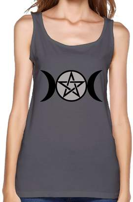 Vector RHUET LNVDIR Triple Moon Pentacle Fit Relaxed Tank Top Athletic Workout Women's Tank Tops Cotton