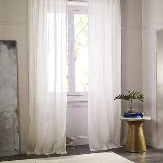west elm Sheer Belgian Flax Linen Curtain - Ivory
