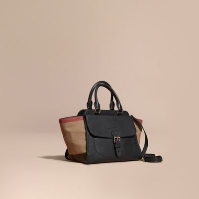 Burberry Medium Canvas Check and Leather Tote Bag