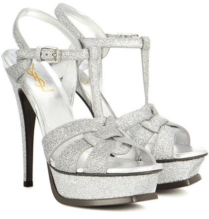 Saint Laurent Tribute 105 glitter platform sandals