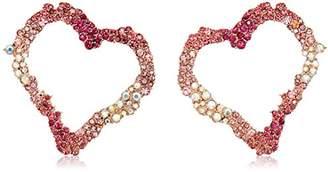 Betsey Johnson Women's Tonal Stone Heart Earrings