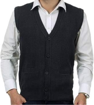 Mullsan Men's Lambswool V Neck Button Sweater Vest (M, )