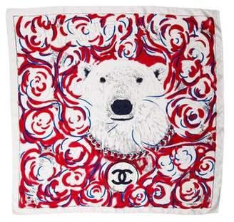 Chanel Silk Polar Bear Scarf