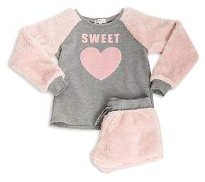 PJ Salvage Girls' Faux-Fur Sweet Pajama Top & Shorts Set - Big Kid