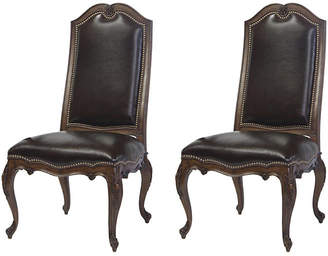 Wenge Leyland Leather Side Chairs - Set of 2 - Belle Meade
