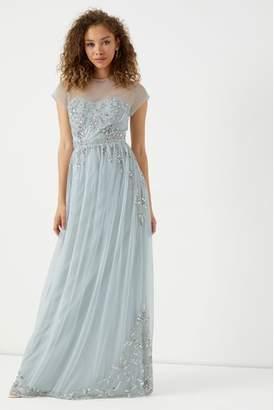 Next Womens Maya Embellished Maxi Dress With Sheer Yoke And Cap Sleeves