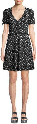 Dex Pearly-Embellished Laced-Back Floral Dress