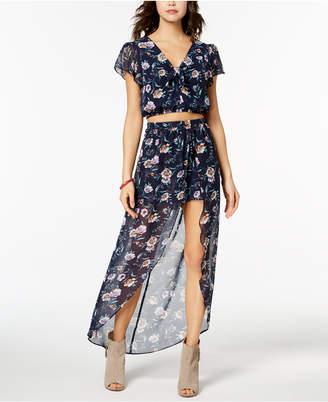 BCX Juniors' Printed Crop Top & Overlay Shorts 2-Pc. Dress