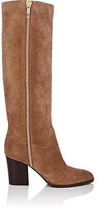 Sergio Rossi Women's Side-Zip Suede Knee Boots - Lt. brown