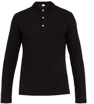 Handvaerk - Long Sleeved Pima Cotton Pique Polo Shirt - Mens - Black