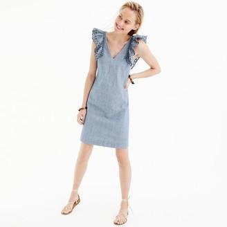 Tall chambray ruffle-shoulder sheath dress $98 thestylecure.com