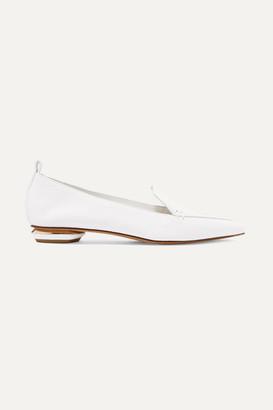 Nicholas Kirkwood Beya Textured-leather Point-toe Flats - White