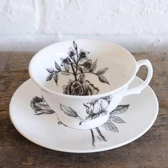790707c4f4 Sarah Horne Botanicals Fine Bone China Tea Cup And Saucer Set Giftboxed
