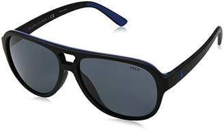 Polo Ralph Lauren Men's 0Ph4123 562987 Sunglasses, (Black Royal Grey Blue)