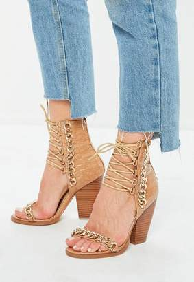 Missguided Nude Croc Chain Lace Up Heeled Sandals
