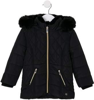River Island Mini Girls Faux Fur Lined Padded Coat - Black