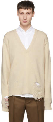 Maison Margiela Off-White Wool Distressed V-Neck Sweater