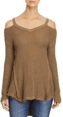Elan International Cold Shoulder High Low Sweater