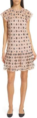 RED Valentino Floral Sequin Drop Waist Dress