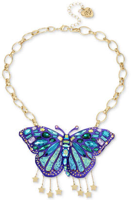 "Betsey Johnson Gold-Tone Glitter Stone Butterfly Statement Necklace, 17"" + 3"" extender"
