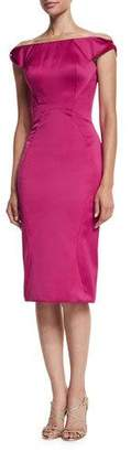 Zac Posen Off-The-Shoulder Cocktail Dress, Fuchsia