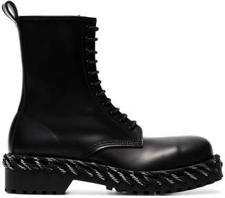 Balenciaga black rope-stitched leather boots