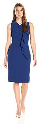 Lark & Ro Women's Sleeveless Midi Fitted Dress with Ruffle Detail