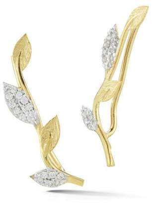 14 Karat Yellow Gold Matte-finish Vine Climber Earrings