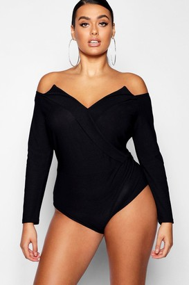 boohoo Plus Structured Wrap Bodysuit