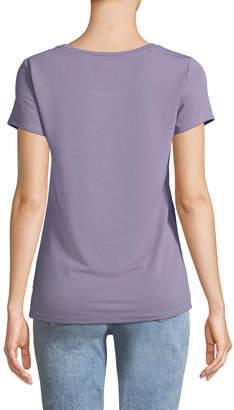 Neiman Marcus Short-Sleeve Twist Front Tee