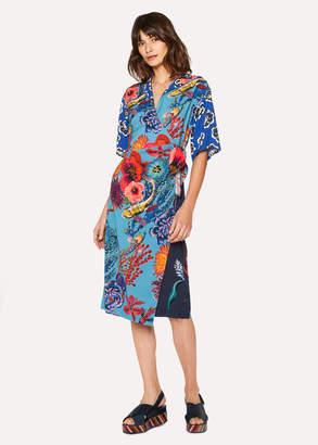 Paul Smith Women's Blue 'Ocean' Print Wrap Dress