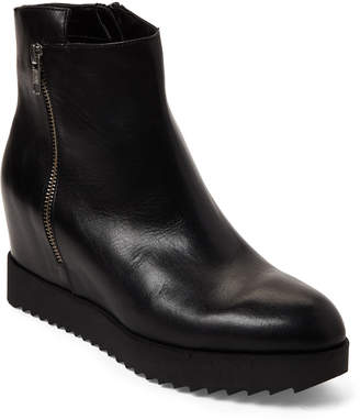 Gabriella Black Leather Hidden Wedge Booties