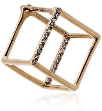 Shihara 18kt yellow gold and diamond cube earring