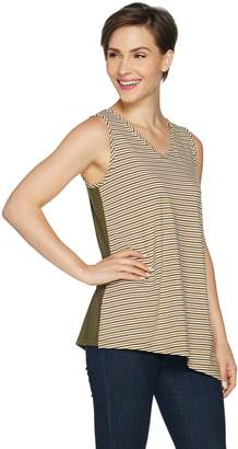 Susan Graver Striped Stretch Cotton Modal Reversible Sleeveless Top