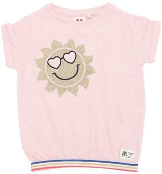 Glittered Sun Cotton Jersey T-Shirt