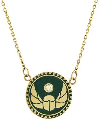 Foundrae Petite Green Champlevé Enamel Protection Medallion Stationary Necklace