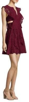 BCBGMAXAZRIA Flutter Sleeve Cutout Lace Dress