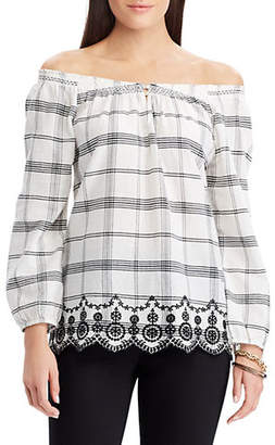 Chaps Petite Embroidered Plaid Off-the-Shoulder Top