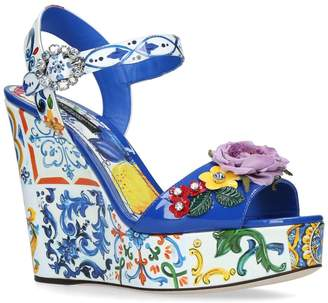 Dolce & Gabbana Floral Belucci Wedge Sandals 120