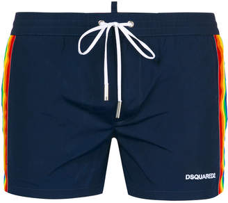 DSQUARED2 rainbow web swimming shorts