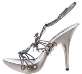 Gianfranco Ferre Metal Bow-Accented Sandals