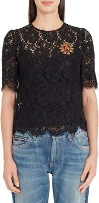 Dolce & Gabbana Heart Patch Lace Top