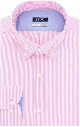 Izod Men's Slim Fit Stripe Buttondown Collar Dress Shirt