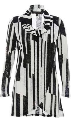 Next Womens Quiz Stripe Zip Front Long Sleeve Top